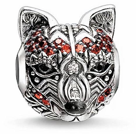 Rodowany srebrny charms do pandora głowa lisa lisek lis fox cyrkonie srebro 925 CHARM188