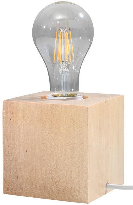 Drewniana lampka biurkowa z odkrytą żarówką - EX587-Abes