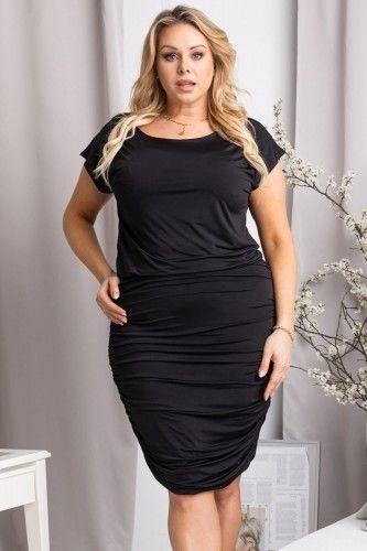 Sukienka mała czarna marszczona wieczorowa SILWANA czarna
