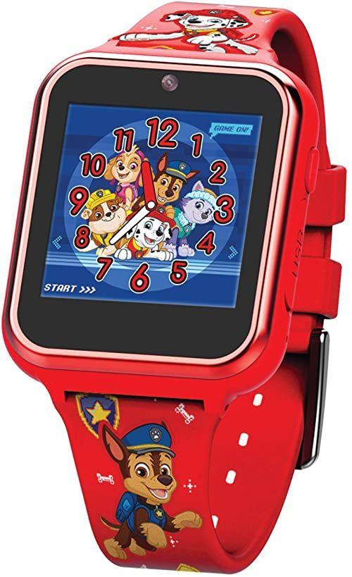 Accutime PAW4275 PAW4275AZ dziecięcy smartwatch Paw Patrol, zegarek dla dzieci z kamerą selfie, stoper, 6 gier, 3 tła, 10 cyferblatów, dyktafon, zegarek fitness, zegarek, budzik, czerwony