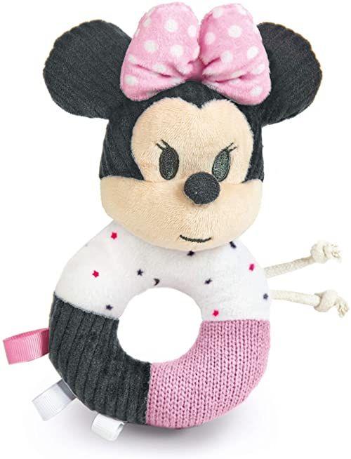 Clementoni 17338 -Disney Baby Minnie Maraca miękki pierścień grzechotka - zabawka dla małych dzieci - odpowiednia dla 0 miesięcy i starszych - można prać w pralce, wielokolorowa