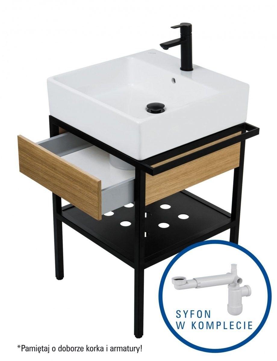 Deante Temisto Umywalka stawiana na blacie + konsola łazienkowa z szufladą 56x50 + syfon space saver CDTD6U5S