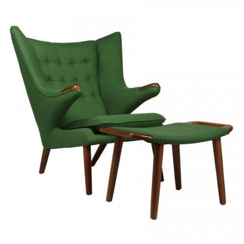 Fotel z podnóżkiem NIEDŹWIEDŹ - inspirowany proj. Papa Bear Chair - zielony