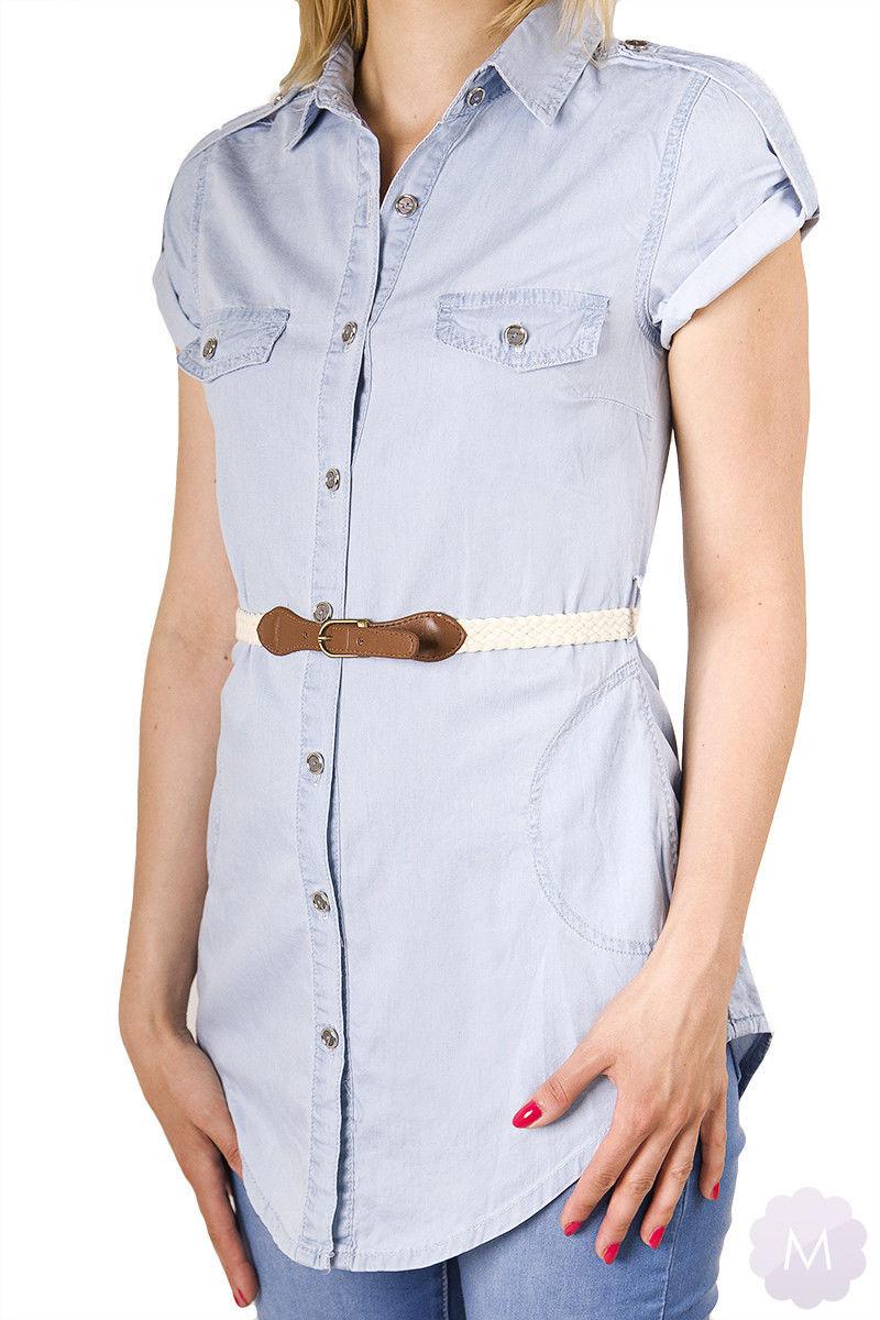 Dłuższa koszula / tunika jeansowa bardzo jasno niebieska z paskiem