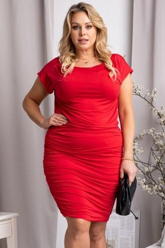 Sukienka wieczorowa ołówkowa marszczona SILWANA czerwona