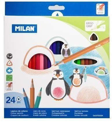 Kredki ołówkowe trójkatne 24 kolory MILAN