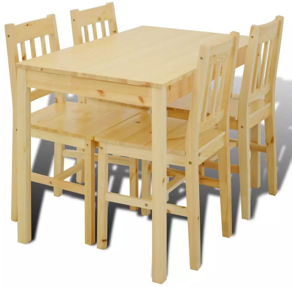 Drewniany zestaw stół i 4 krzesła  Ellen