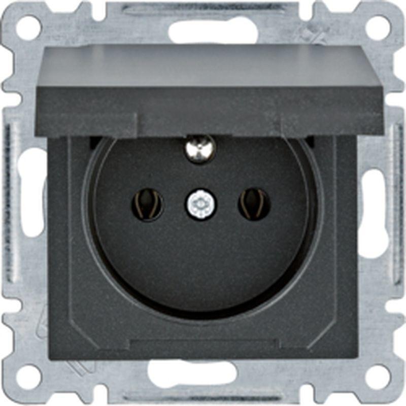 Lumina Gniazdo zasilające z uziemieniem i pokrywą 16 A/250 VAC czarne WL1123
