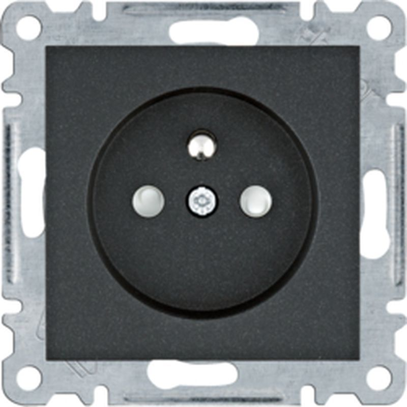 Lumina Gniazdo zasilające z uziemieniem przesłony styków 16 A/250 VAC czarne WL1043