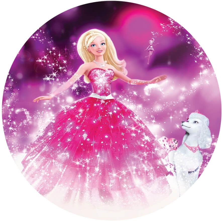 Dekoracyjny opłatek tortowy Barbie - 20 cm
