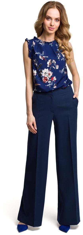 Eleganckie szerokie granatowe spodnie w kant