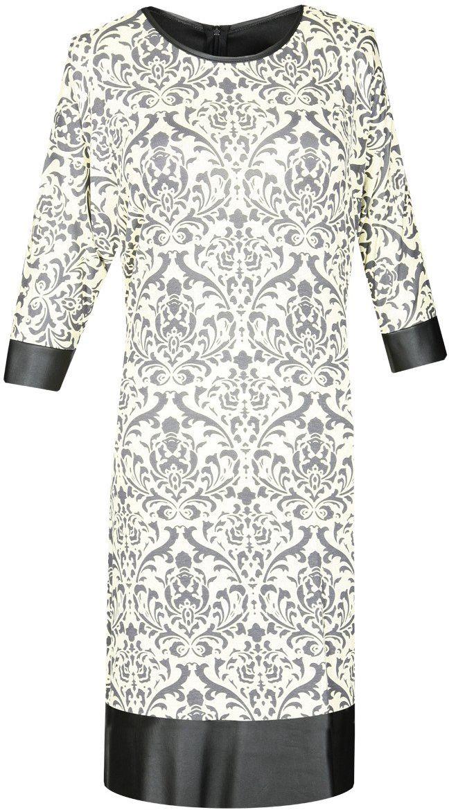 Sukienka FSU649 ŻÓŁTY + CZARNY wzór