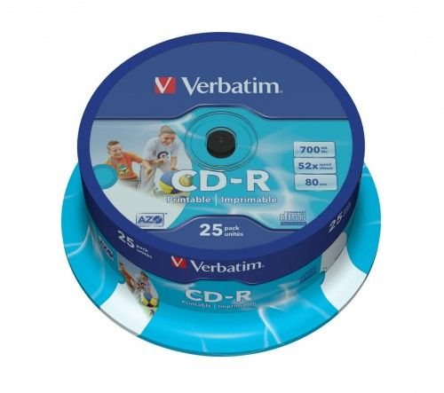 Verbatim CD-R 52x 700MB Printable cake 25 sztuk
