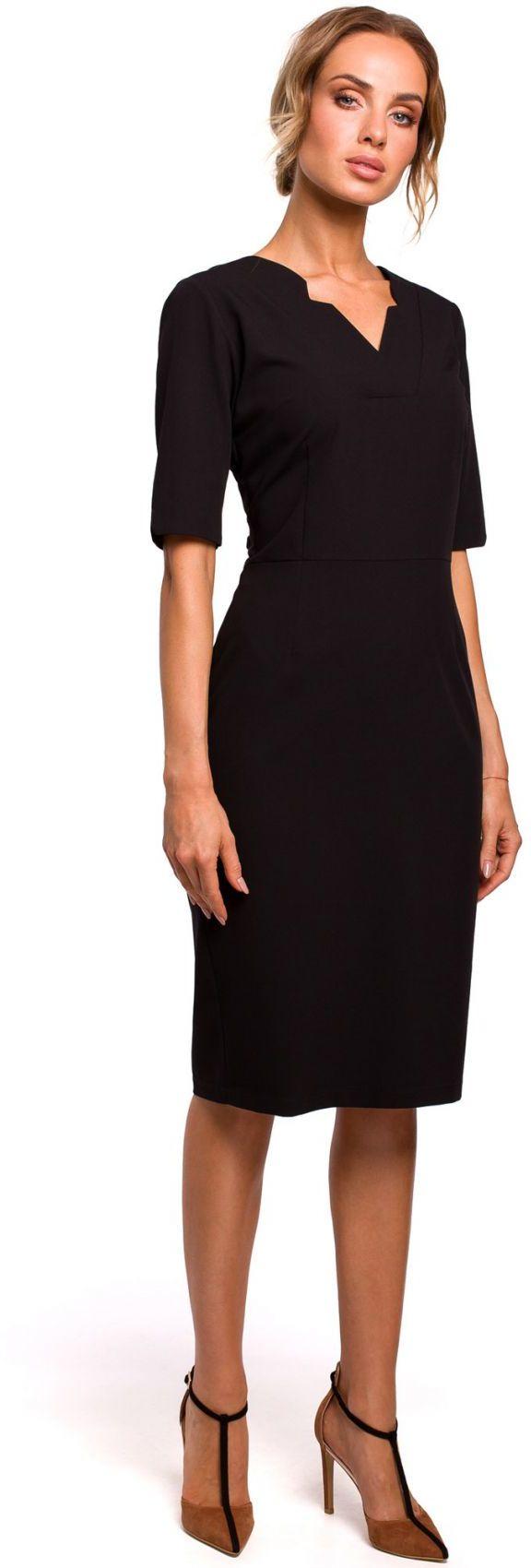 M455 Sukienka z dekoltem v - czarna
