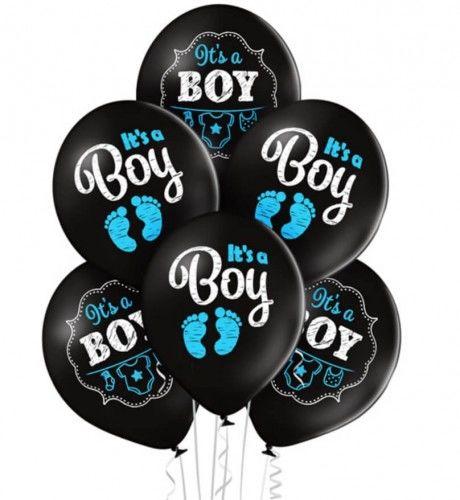 Balony It''s a Boy na Baby Shower, czarne 6 szt.