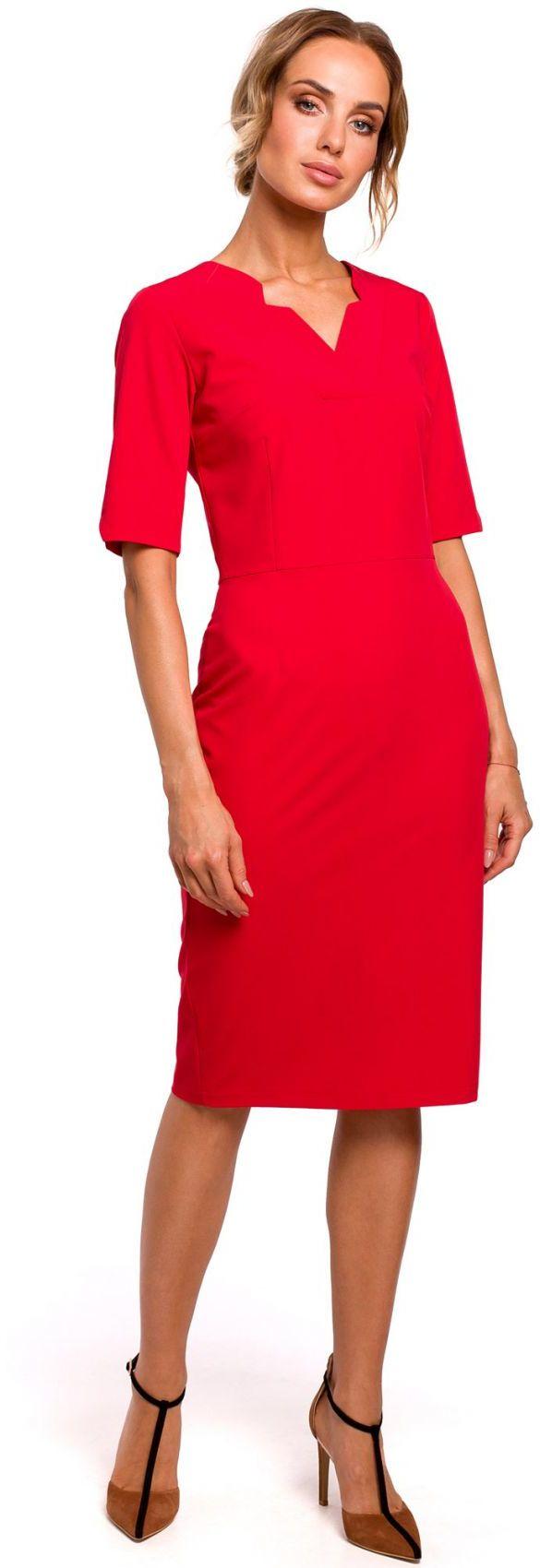 M455 Sukienka z dekoltem v - czerwona