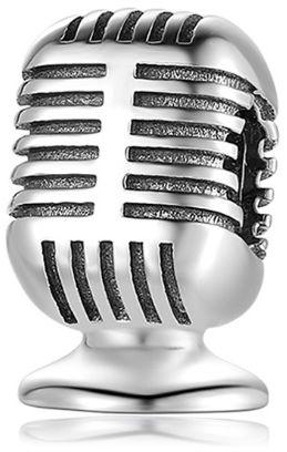 Rodowany srebrny wiszący charms do pandora mikrofon microphone srebro 925 CHARM250