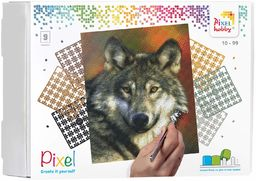 Pixel P090047 Mozaika opakowanie na prezent wilk Obraz pikseli około 30,5 x 38,1 cm rozmiar do tworzenia dla dzieci i dorosłych, kolorowy
