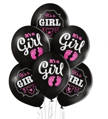 Balony It''s a Girl na Baby Shower, czarne 6 szt.