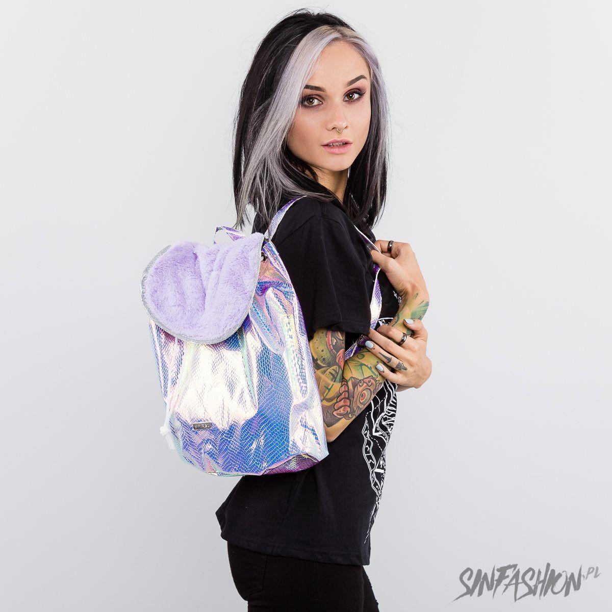 Plecak spiral holo faux fur lilac