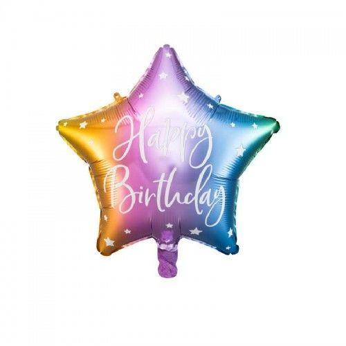 Balon foliowy Gwiazda, tęczowe ombre Happy Birthday