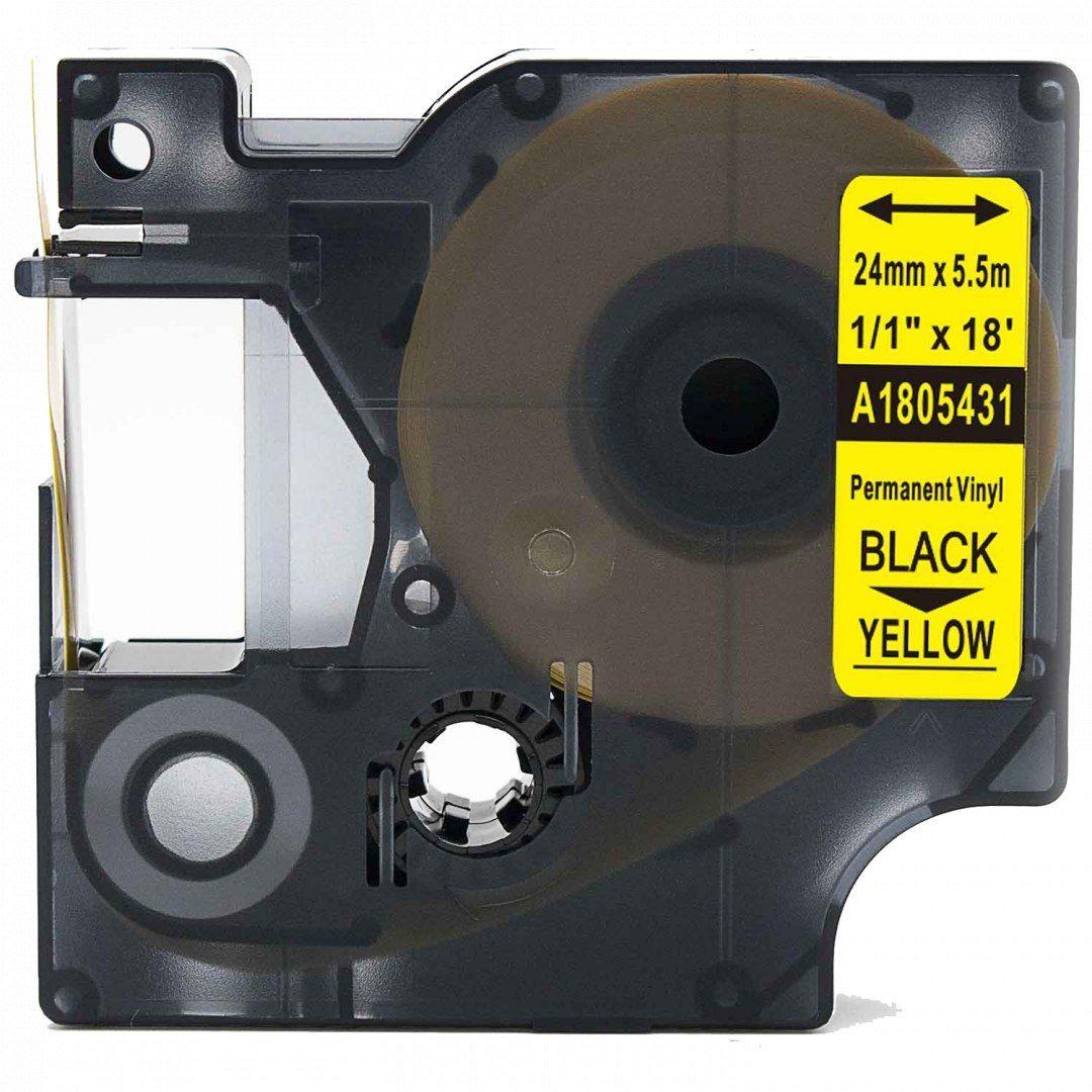 Taśma DYMO Rhino 1805431 winylowa 24mm x 5.5m żółta czarny nadruk - zamiennik OSZCZĘDZAJ DO 80% - ZADZWOŃ! 730811399