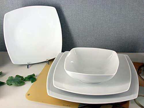 Porcelaine Blanche DAKAR252129  zestaw 6 talerzy, kwadratowy, porcelana, 29 x 29 cm, kolor: biały