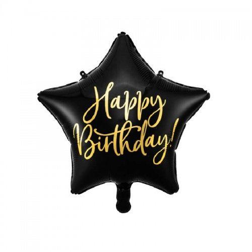 Balon foliowy czarna gwiazda Happy Birthday