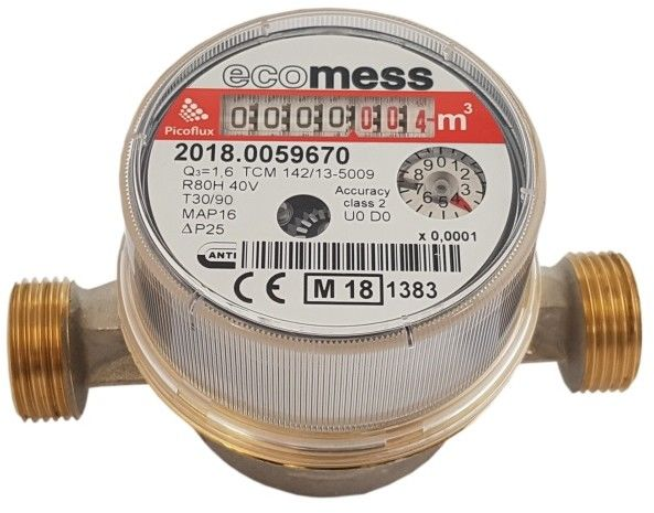 Wodomierz do ciepłej wody Ecomess Picoflux 1/2 1,6 m3/h