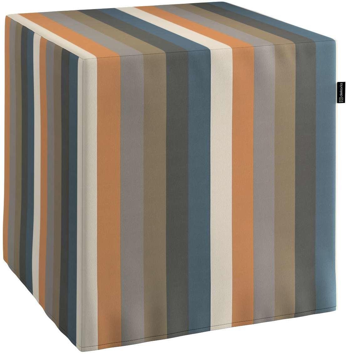 Pufa kostka, kolorowe pasy w rudo-brązowo-niebieskiej kolorystyce, 40  40  40 cm, Vintage 70''s