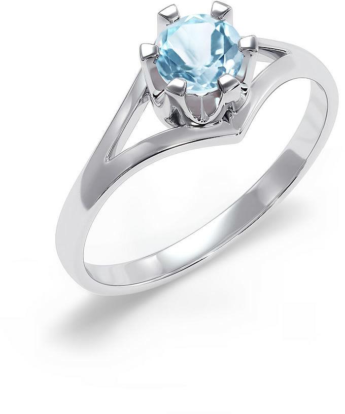 Kuźnia Srebra - Pierścionek srebrny, rozm. 15, Swiss Blue, 2g, model