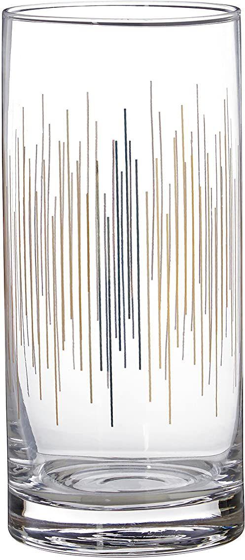 Premier Housewares Deco okulary Highball, złoty, 7 x 7 x 15 cm, zestaw 4 szt.