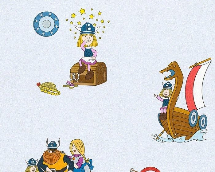 Tapeta piraci wikingowie 94189-2 kids best friends niebieska