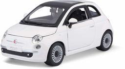 Bburago Fiat 500 (2007): Model samochodu w skali 1:24, drzwi i maska silnika do otwierania, sterowane, 19 cm, biały (18-22106)