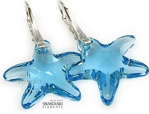 SWAROVSKI piękne kolczyki BLUE STARFISH