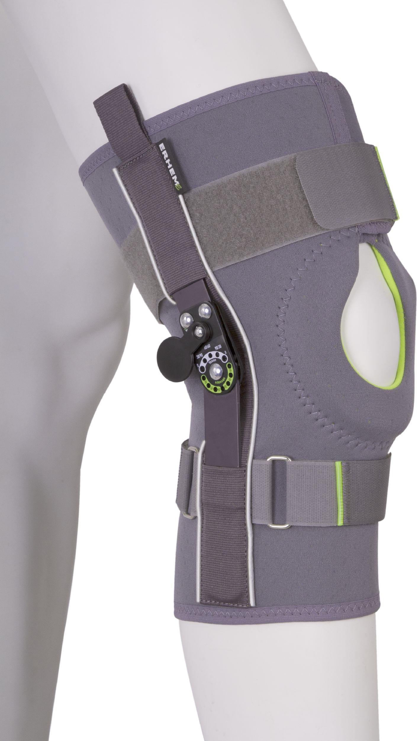 Krótka orteza - stabilizator kolana z ZEGAREM - regulacja kąta zgięcia (ERH-35/K-PO-1r)