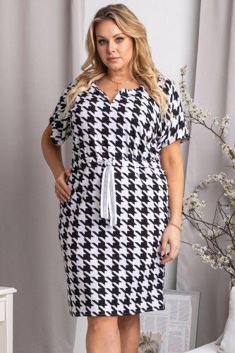 Sukienka do pracy wygodna elegancka dzianina RENIA biało-czarna pepitka