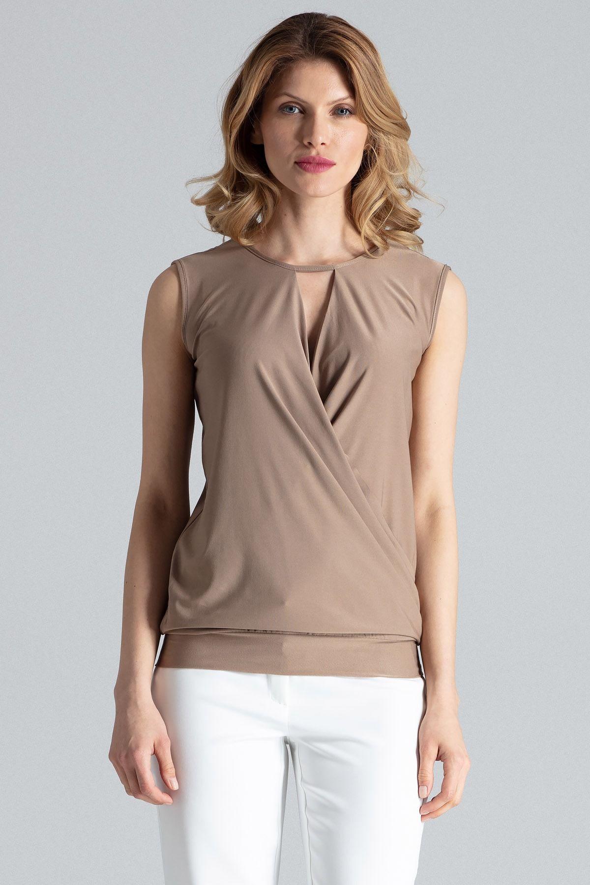 Beżowa kopertowa kobieca bluzka bez rękawów