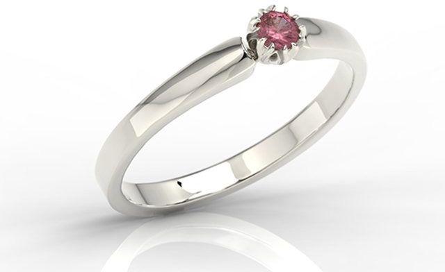 Pierścionek zaręczynowy z białego złota z rubinem bp-2110b
