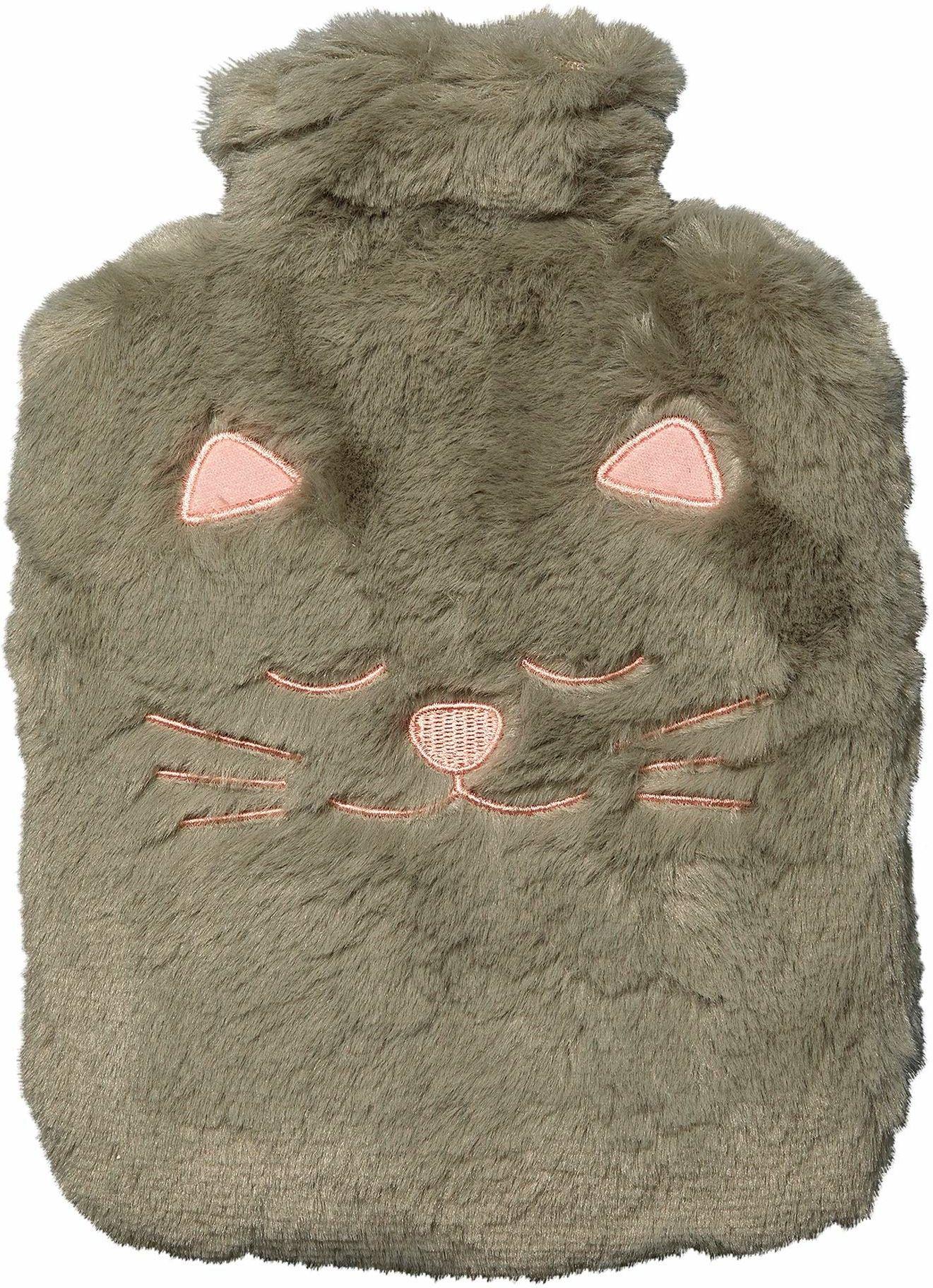Termofor Toga, pluszowy, kot, szary, z poszewką ze sztucznego futra, 100% poliester, łatwa obsługa, wielokrotnego użytku, można go wszędzie ze sobą zabrać.