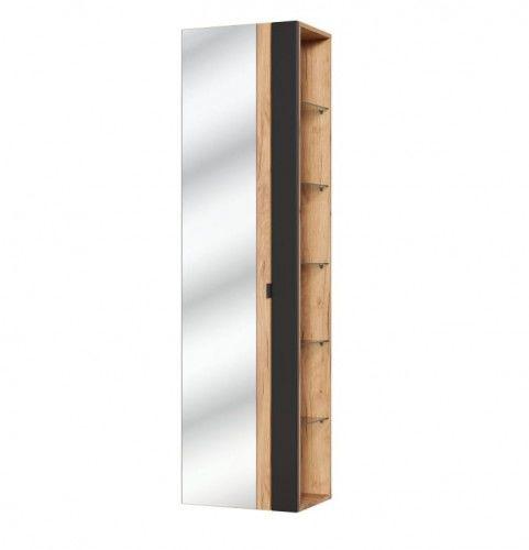 Słupek boczny z lustrem 45x33x170cm czarny mat/dąb