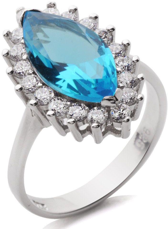 Srebrny Pierścionek z Błękitnym Kamieniem