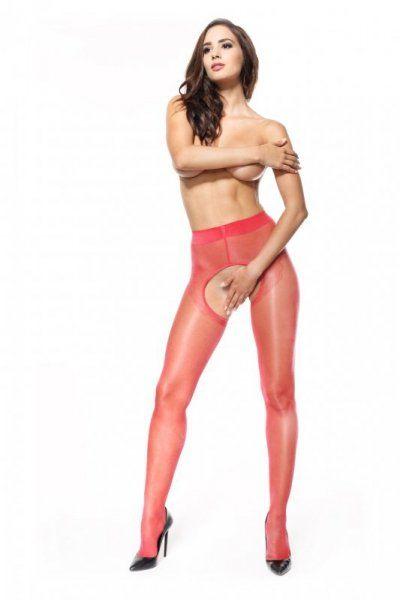 Rajstopy z wyciętym krokiem - MissO P211 Czerwone L/XL