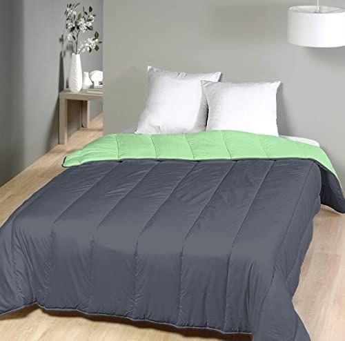 Laurentmortreux Kołdra pikowana, dwukolorowa, 140 x 200 cm, lekka, poliester, 140 x 200 cm, szara/zielona