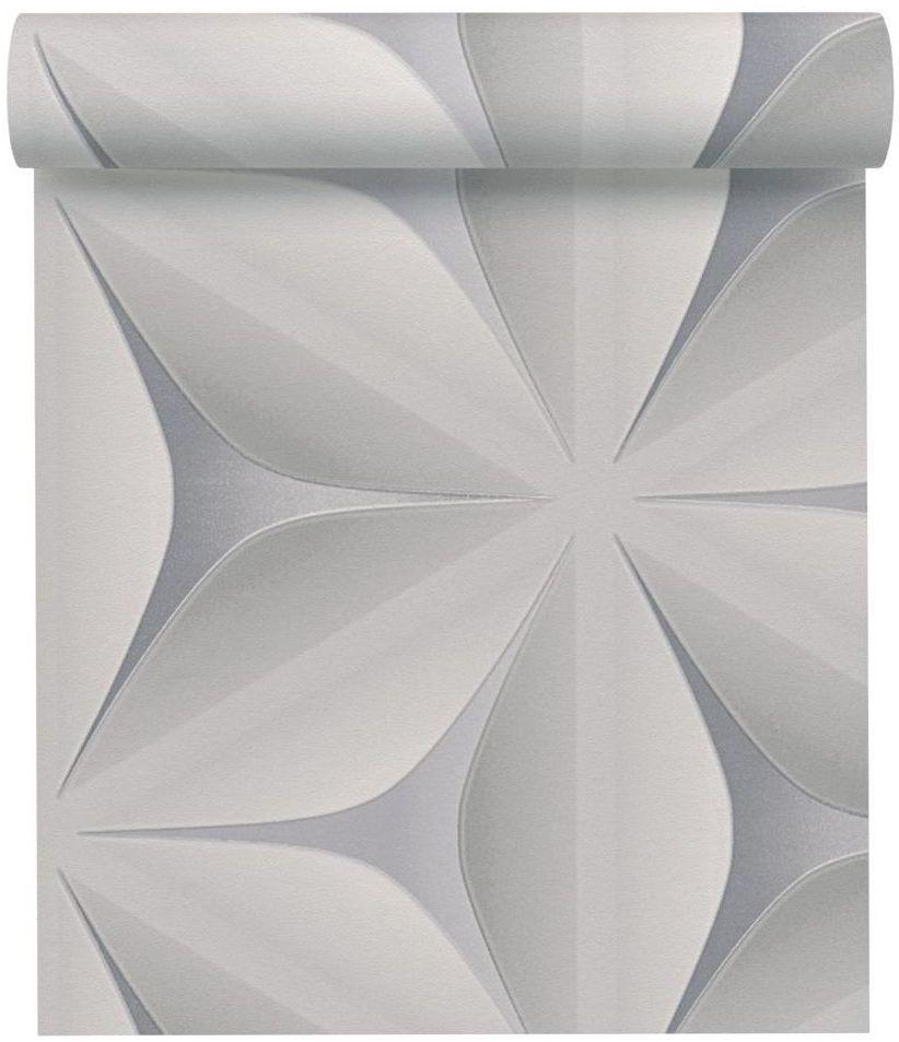 Tapeta 3D Geometric jasnoszara winylowa na flizelinie