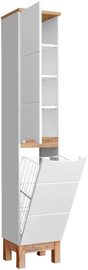Szafka łazienkowa BALI 35 cm biała słupek z koszem  KUP TERAZ - OTRZYMAJ RABAT
