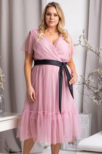 Sukienka ekskluzywna tiulowa z falbanką ASIA pudrowy róż