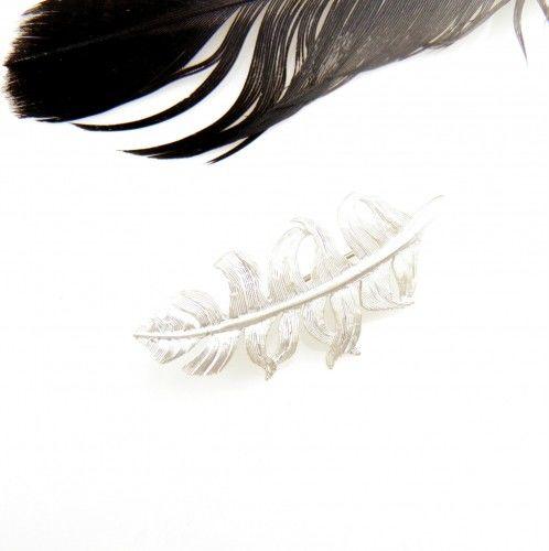 Broszka srebrna - Białe piórko II małe