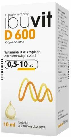 Ibuvit D 600 Witamina D dla niemowląt i dzieci od 0,5 do 10 lat - 10 ml w kroplach