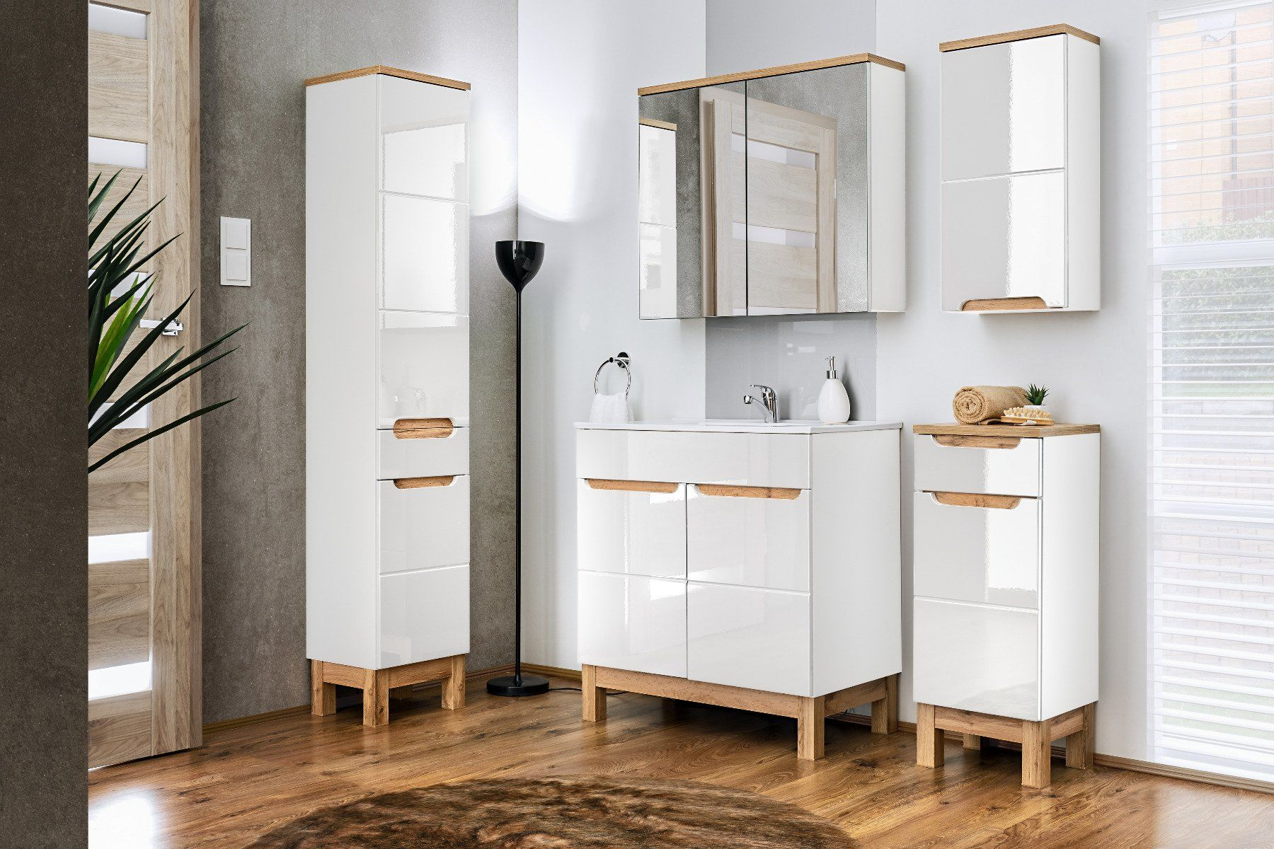 Szafka łazienkowa BALI 840 biała z lustrem  Kupuj w Sprawdzonych sklepach